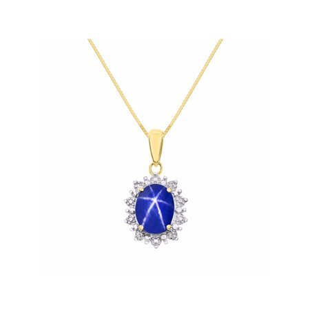 Princess Diana Inspired Halo Diamond & Blue Star Sapphire Pendant Necklace Set In Set in Yellow Gold Plated Silver With 18