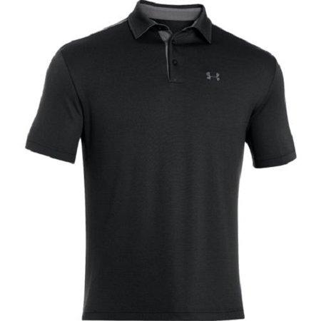 Under armour 1249072 men 39 s black tech short sleeve polo for Under armour men s tech polo short sleeve shirt