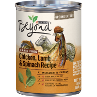 (12 Pack) Purina Beyond Grain Free, Natural Pate Wet Dog Food, Grain Free Chicken, Lamb & Spinach Recipe, 13 oz. Cans