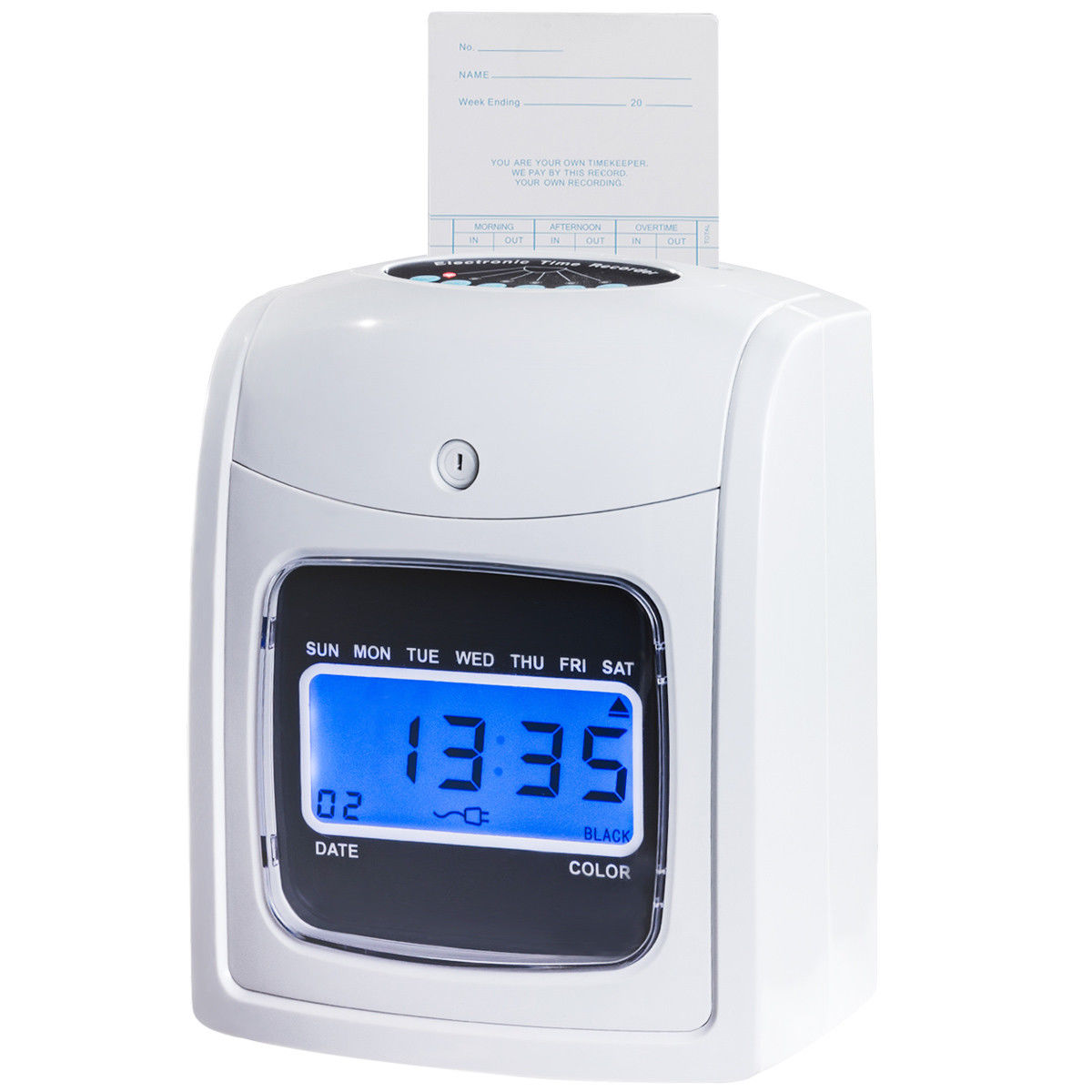 Goplus Recorder Time Punch Clock LCD Display w/Card Monthly/Weekly/Bi-weekly