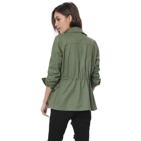 Unique Bargains Women Drawstring Waist Flap Pockets Military Jacket Green L - image 2 de 7