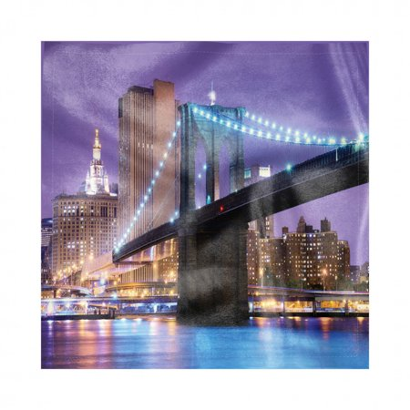 NYC Scene Napkins Set of 4, Pattern of Bridge Spans the East River Towards Manhattan Violet Sky, Silky Satin Fabric for Brunch Dinner Buffet Party, by Ambesonne