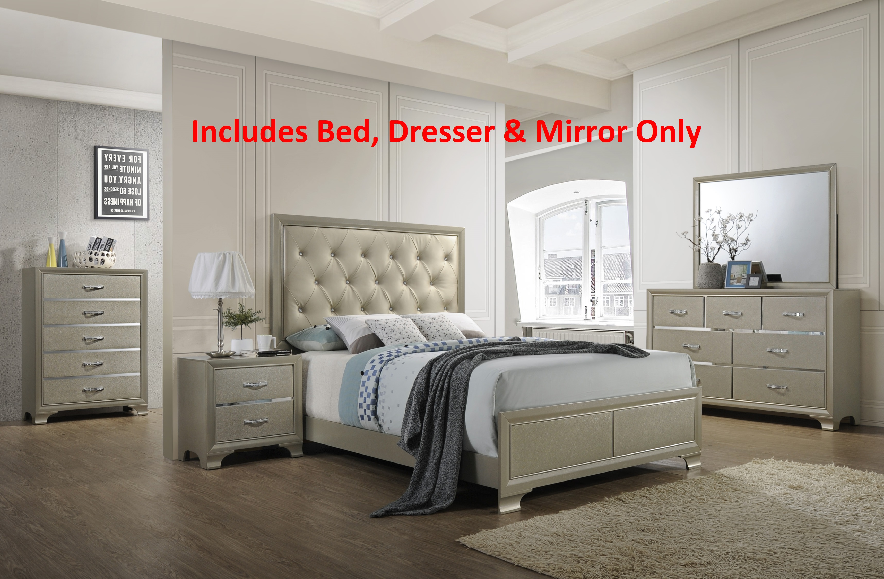 Delphine 3 Piece Queen Size Contemporary Champagne Wood With Upholstered  Tufted Faux Leather Headboard Panel Bedroom
