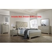 Queen Size Bedroom Sets For Cheap. 3 Piece Queen Size Contemporary Champagne Wood With Upholstered Tufted Faux  Leather Headboard Panel Bedroom Set Sets Walmart com