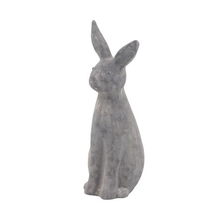 Decmode Farmhouse 18 X 5 Inch Distressed Black Polystone Rabbit (Black Art Sculptures)