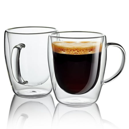 Jecobi Indulge Double wall glass with handle 10.oz Coffee Mugs Glass Cups (Set of 2) - Cups Glasses