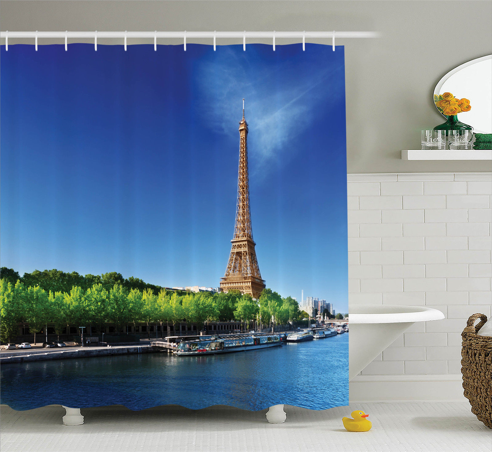 Eiffel Tower Decor Seine In Paris With Eiffel Tower Sunrise Time Trees River Grass Nature Panorama, Bathroom Accessories, 69W X 84L Inches Extra Long, By Ambesonne