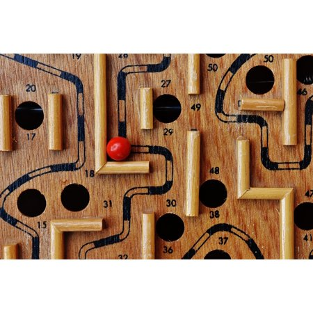 Framed Art For Your Wall Fun Ball Puzzle Labyrinth Play Red Wood Toys 10x13 Frame - Labyrinth Toys