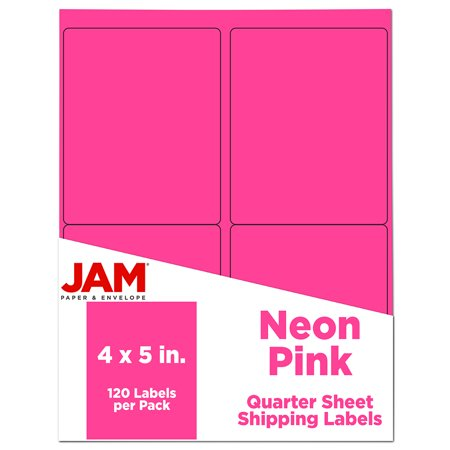 JAM Shipping Address Labels, 4x5, Neon Pink, 120/Pack Shipping Address Labels