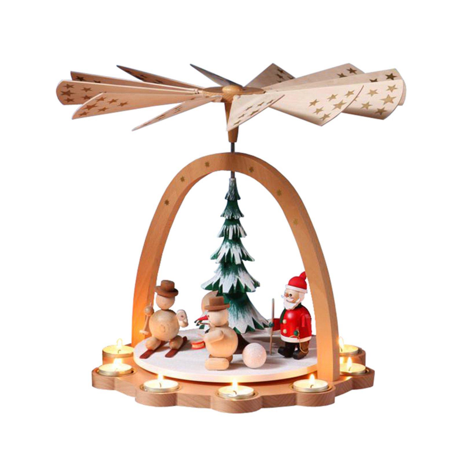 Glaesser Santa and Snowman Tea Light Pyramid