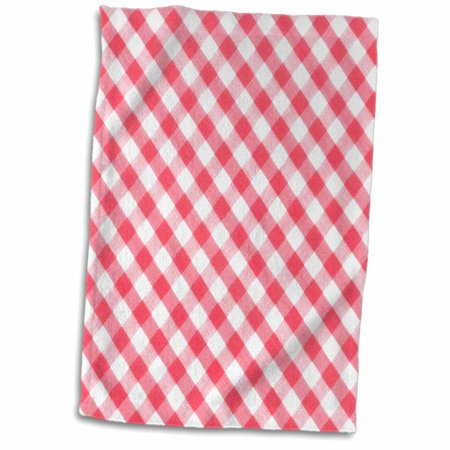 Diagonal Checkered Snap (3dRose Red and white Gingham pattern diagonal checkered checks rustic retro country cottage dining kitchen - Towel, 15 by)