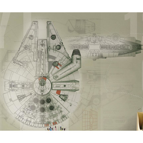 Roommates Star Wars Millennium Falcon Prepasted Mural, 6' x 7.5', Ultra-Strippable