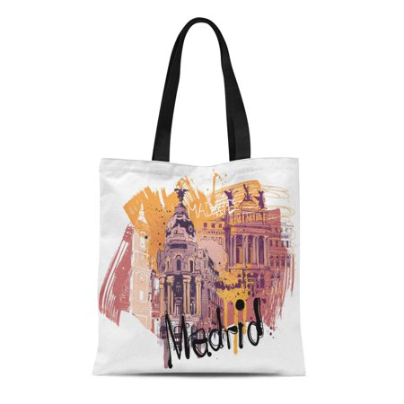 SIDONKU Canvas Tote Bag Blue Spain Madrid City Yellow Toledo Architecture Brushes Buildings Reusable Shoulder Grocery Shopping Bags Handbag