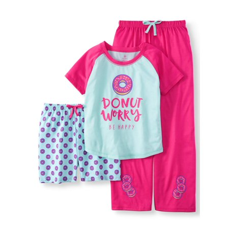 Girls' 3 Piece Donut Worry Pajama Sleet Set (Little Girl & Big - Little Girls Silk Pajamas