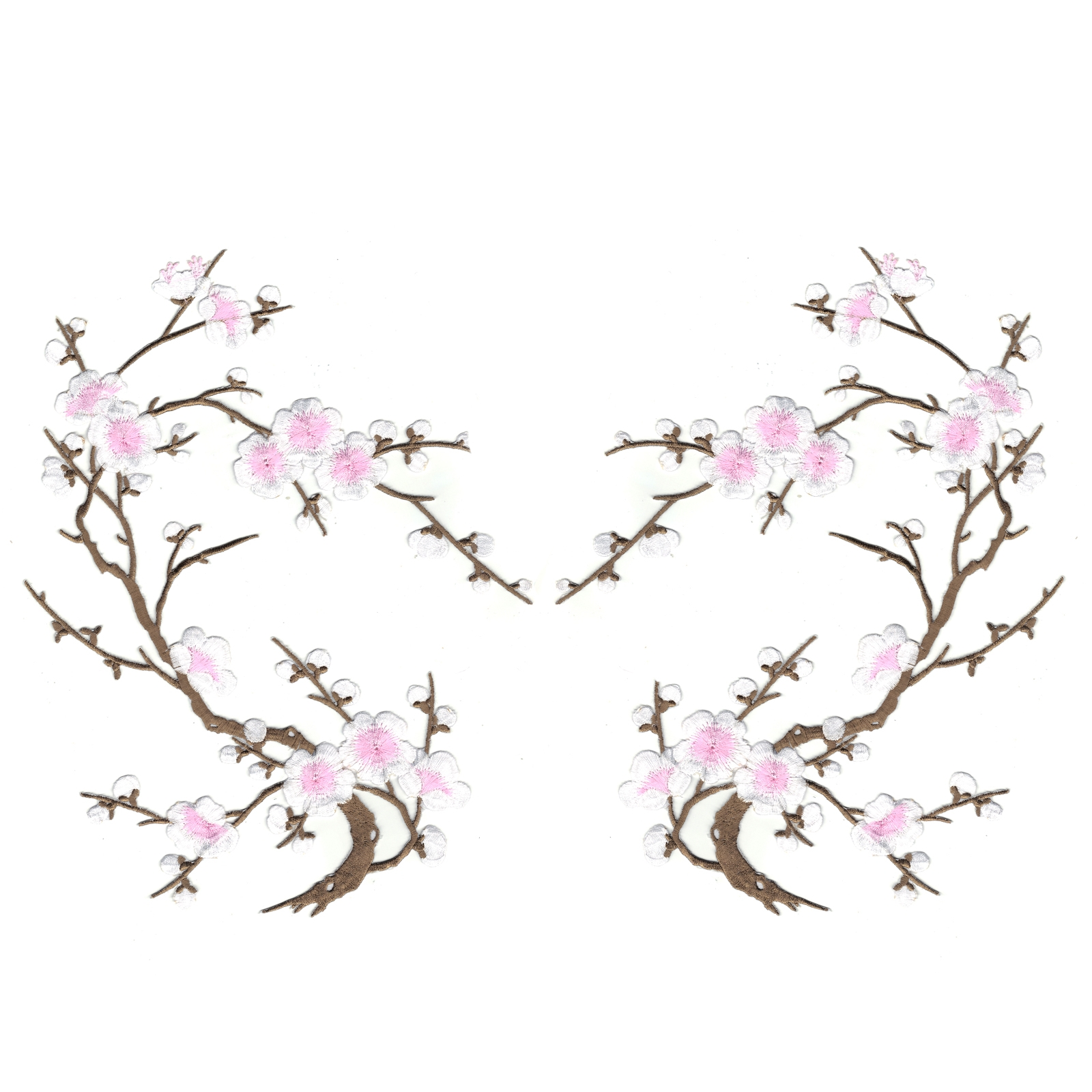 Pink and White Cherry Blossom Flowers Set of Two Embroidered Iron on Patches