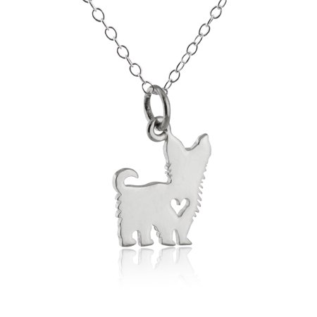 Sterling silver yorkshire terrier dog with heart cutout pendant sterling silver yorkshire terrier dog with heart cutout pendant yorkie necklace 18 aloadofball Image collections