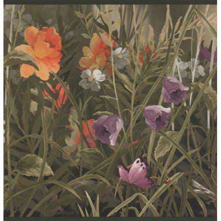 Animated Butterfly Wallpaper (Wild Meadow Purple Orange Flowers Butterflies Floral Wallpaper Border Retro Design, Roll 15' x 9