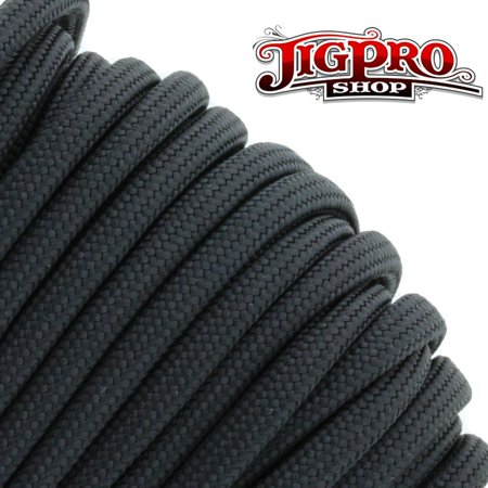 Military Spec 550lb Type III Parcord 100' Black by Jig Pro Shop - Made in the USA (Shops Usa)
