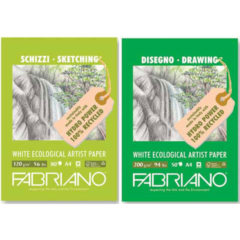 "Fabriano - Eco White Drawing & Sketching Pad - 8.5"" x 11.7"" - 80 Shts./Pkg."