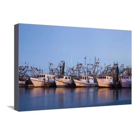 Fulton Harbor and oyster boats Stretched Canvas Print Wall Art By Larry Ditto