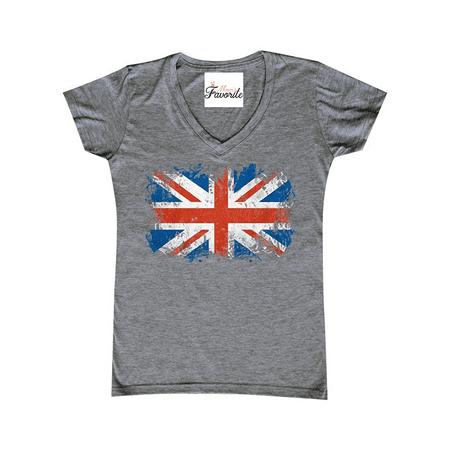 d6453c07 Mom's Favorite - Union Jack British Flag Women's V-Neck United Kingdom Flag  Shirts SLIM FIT - Walmart.com