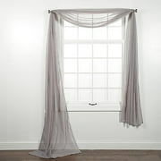 1 PC SOLID SILVER SCARF VALANCE SOFT SHEER VOILE WINDOW PANEL CURTAIN 216 LONG TOPPER