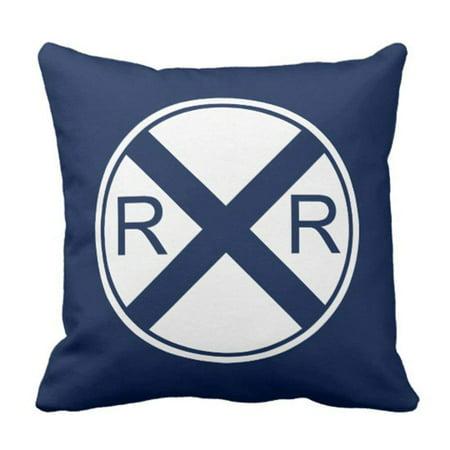ARTJIA Nursery Train Railroad Crossing in Navy Transportation Pillowcase Cover 16x16 inch ()