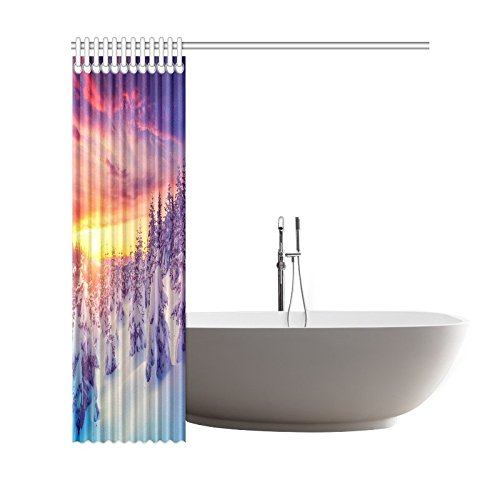 GCKG Winter Trees Snowflake Scene Shower Curtain, Fantastic Evening Landscape Glowing by Sunlight Polyester Fabric Shower Curtain Bathroom Sets with Hooks 66x72 Inches - image 1 de 3