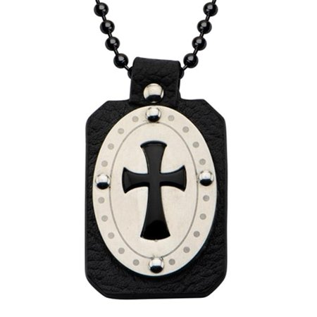 - SSPRALT01KNK1 Leather & Onyx Cross Stainless Steel Pendant with Chain, Black