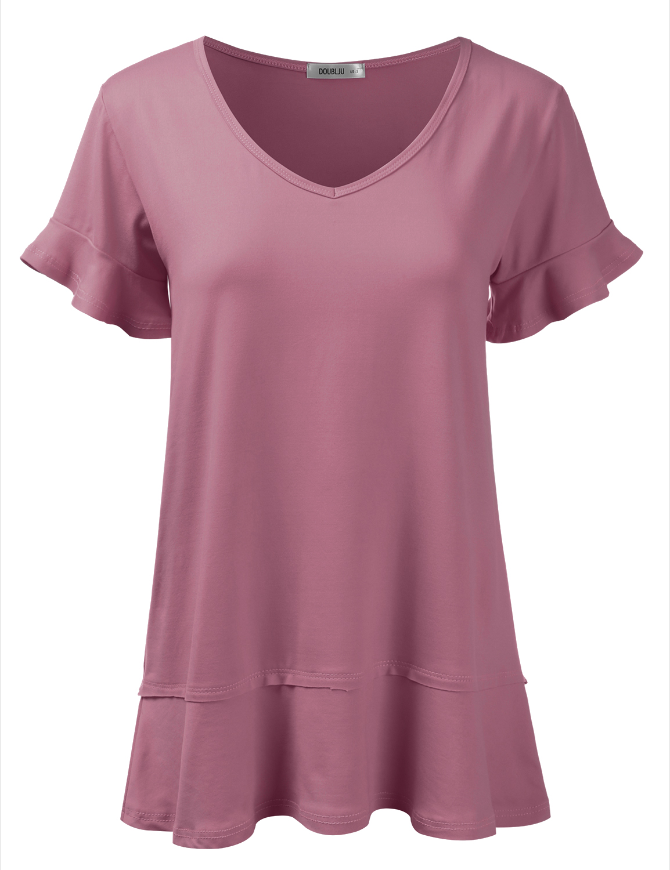 1e01d4cb1eb Doublju - Doublju Women's Short Sleeve Tunic Top Loose Fit Flare T-Shirt  MAUVE 2XL Plus Size - Walmart.com