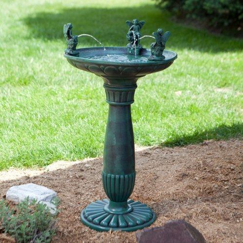 Alpine Trio Of Angels Resin Outdoor Bird Bath Fountain