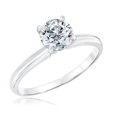 2 Carat Round cut Moissanite Solitaire Engagement Ring in White