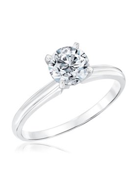 2 Carat Round cut Moissanite Solitaire Engagement Ring in White Gold