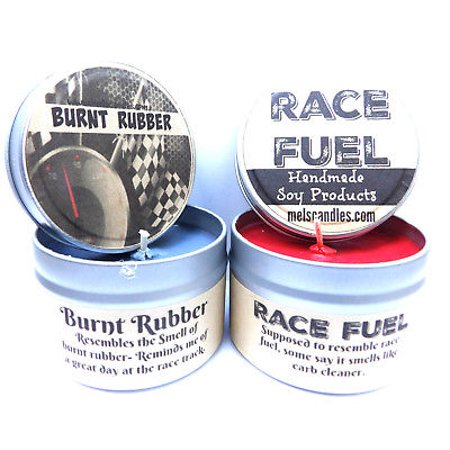 Combo 8oz Burnt Rubber & 8oz Race Fuel Soy Candle Tins - Great Gift for Men