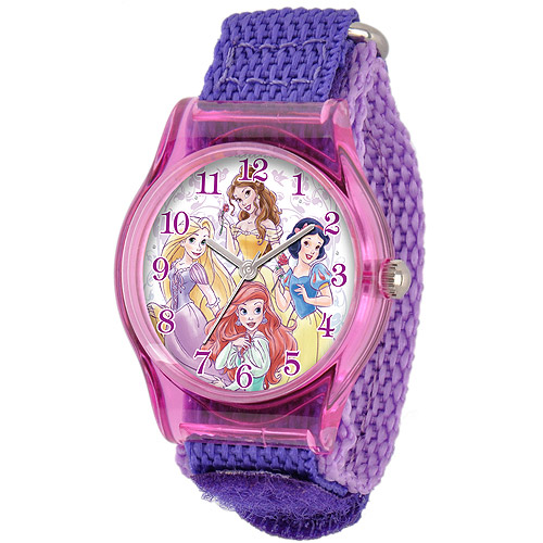 Disney Princess Girls' Plastic Case Watch, Purple Nylon Strap