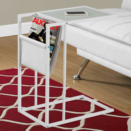 Accent Table with Magazine Rack, White White Metal by Monarch Specialties Inc