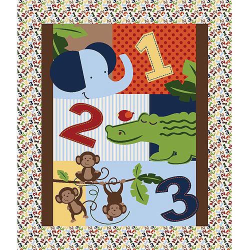 Springs Creative Nursery Jungle 1, 2, 3 Quilt Panel Fabric by the Yard