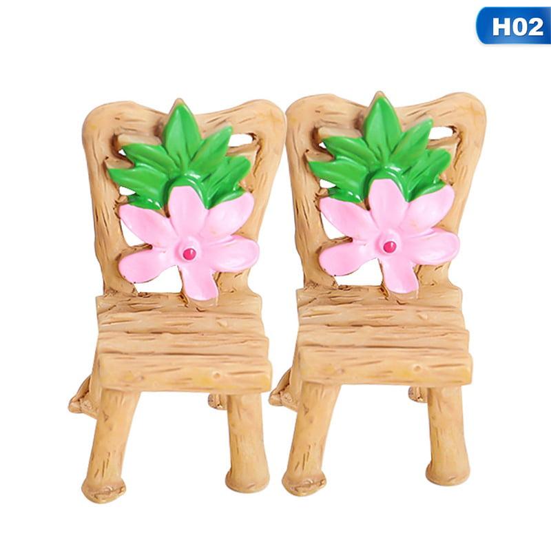 Cute Fairy Garden Miniature Table Chair Resin Craft Micro Landscape Ornament