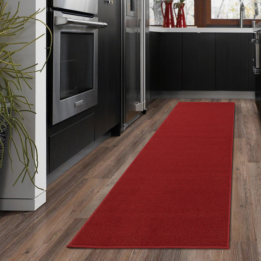 Ottomanson Ottohome Collection Solid Hallway Wedding Aisle & Kitchen Area Rugs and Runners with Non-Skid (Non-Slip) Rubber Backing