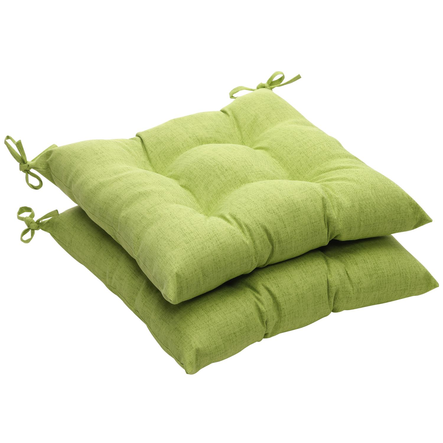 Set of 2 Eco-Friendly Recycled Textured Green Tufted Outdoor Seat Cushions 19""