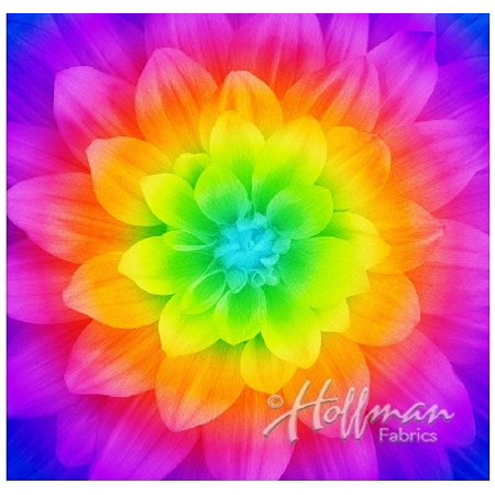 - Dream Big~Prism~Digital Floral Panel 43'' x 43'' Cotton Fabric by Hoffman