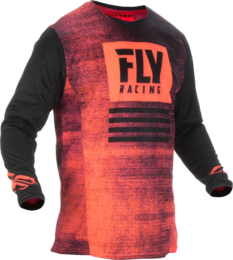 Fly Racing Kinetic Noiz Youth Jersey Neon Red/Black (Red, Small)