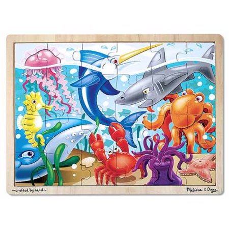 - Melissa & Doug Under the Sea Ocean Animals Wooden Jigsaw Puzzle With Storage Tray (24 pcs)