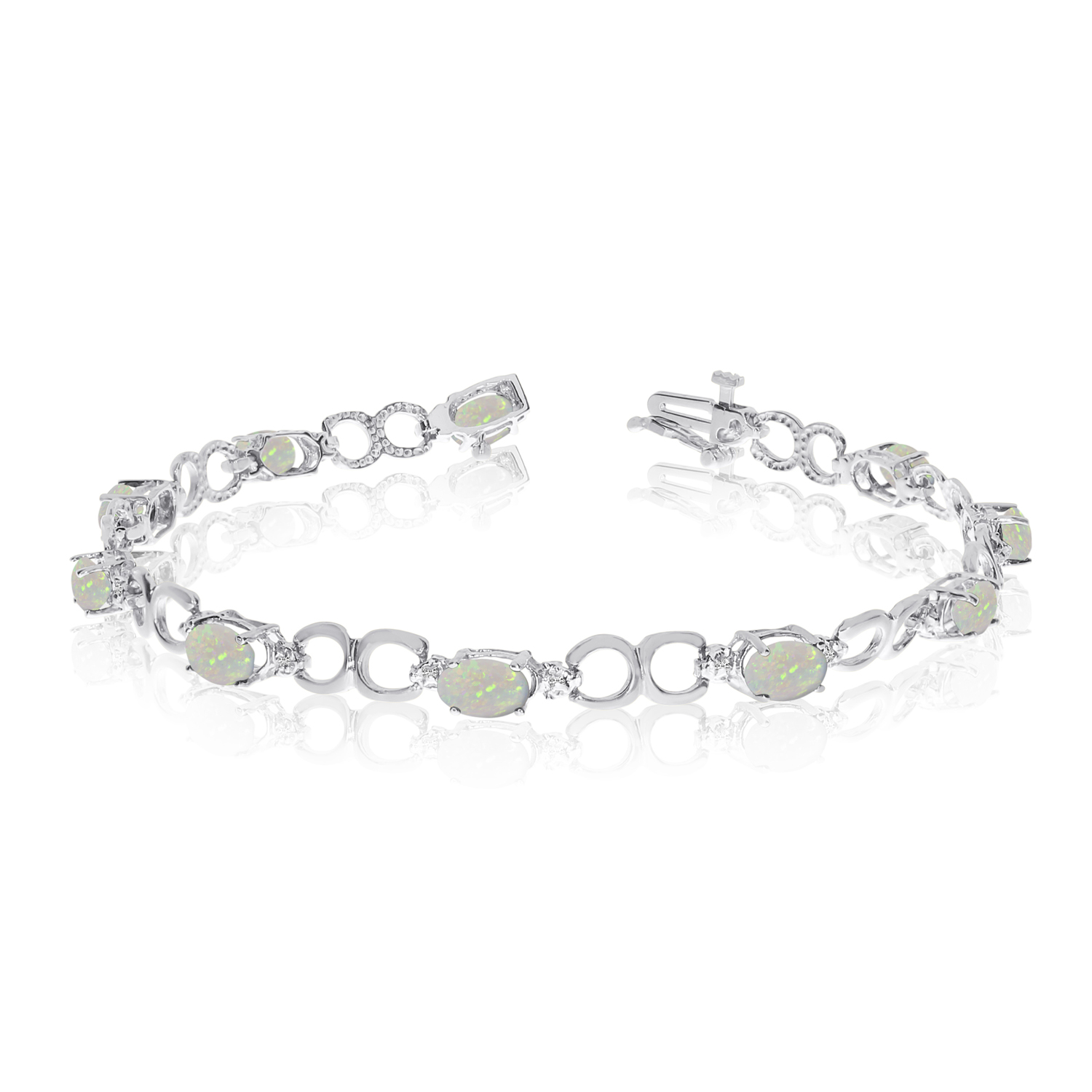 10K White Gold Oval Opal and Diamond Bracelet by LCD