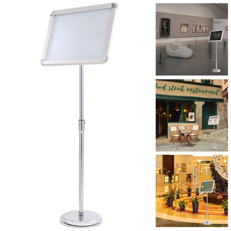 Yescom Display Vertical/Horizontal View Adjustable Pedestal Sign Holder Stand w/ Telescoping Post & Easy Open Snap Frame