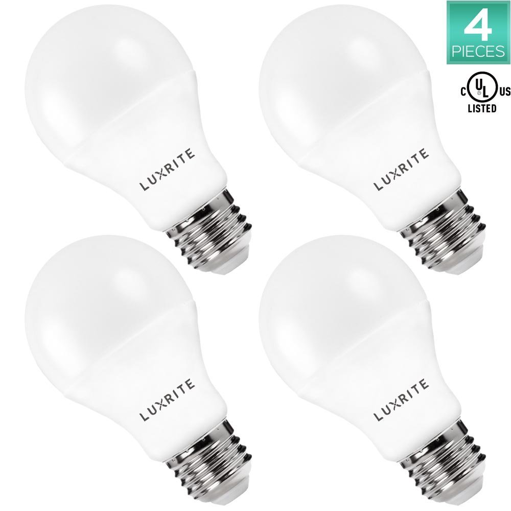 Pack of 4 LED A19 Bulb, Luxrite, 60W Equivalent, Non-Dimmable, 3000K Soft White, 800 Lumens, 60 Watt Light Bulb, E26 Base, UL Listed