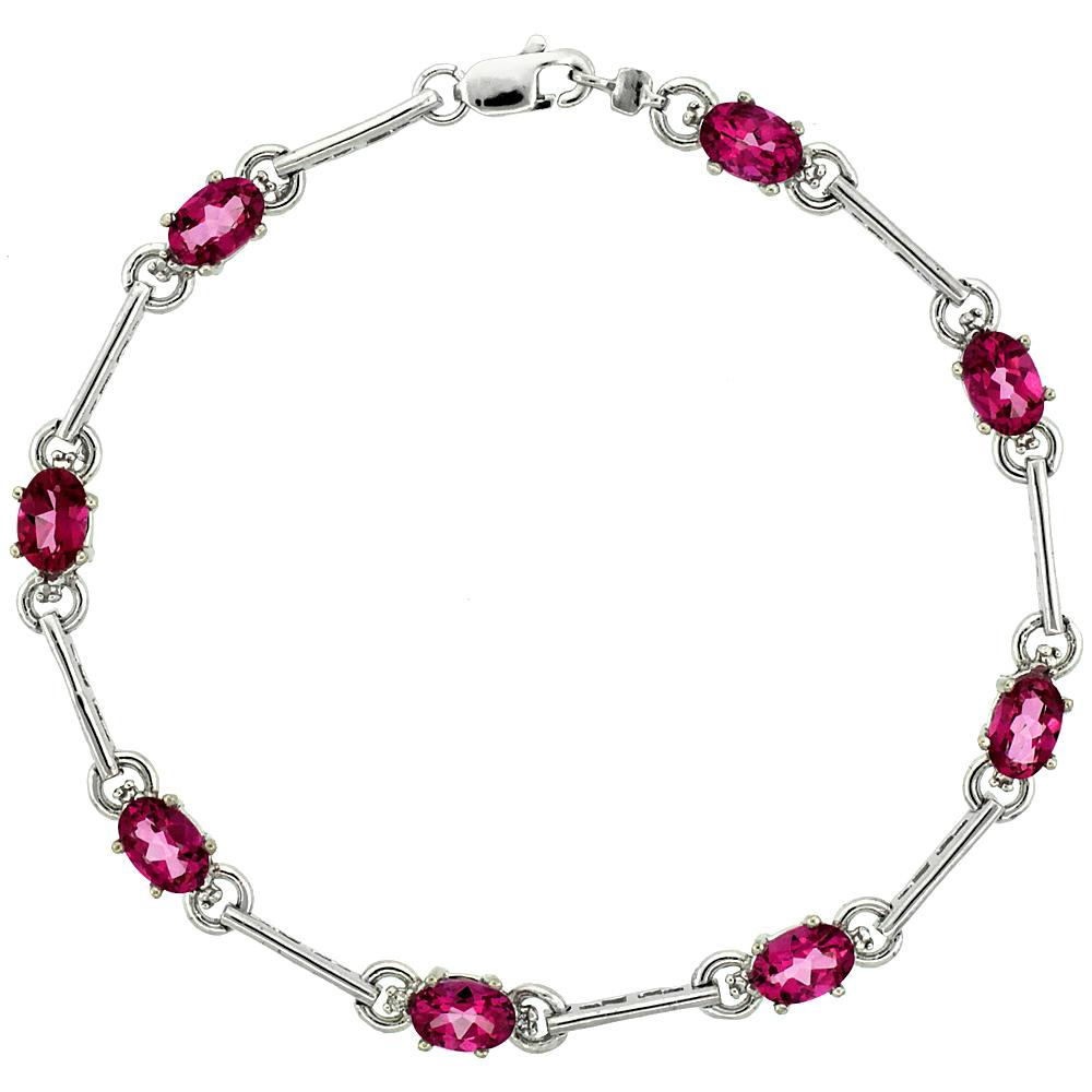 10k White Gold Dash Bar Tennis Bracelet 0.05 ct Diamonds & 4.0 ct Oval Pink Topaz, 3 16 inch wide by WorldJewels