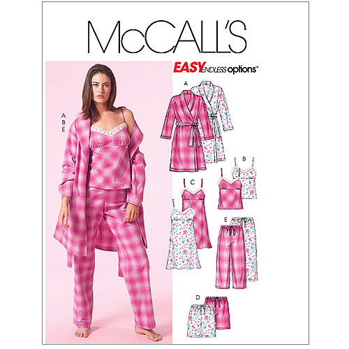 McCall's Pattern Misses' Robe, Belt, Top, Nightgown, Shorts and Pants, Y (XS, S, M)