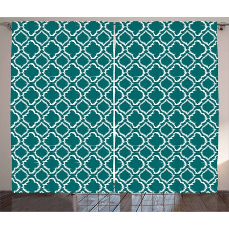 Teal Curtains 2 Panels Set, Traditional Ikat Style Pattern with Abstract Curves Oval Shapes Moroccan Inspiration, Window Drapes for Living Room Bedroom, 108W X 96L Inches, Teal White, by Ambesonne