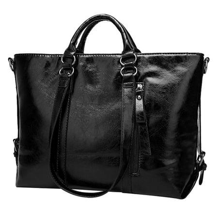 Allcaca Women's Vintage Leather Tote Shoulder Bag Handbag Cross-body Bag With Detachable Long Shoulder Strap - (Black Leather Strap Lug)